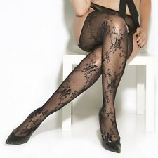Pantyhose Stocking Black Women Plus One Size Floral Lace Suspender Hosiery Nylon