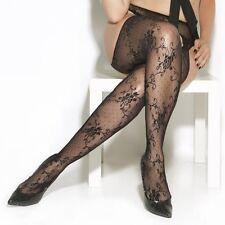 Pantyhose Stocking Black Women Plus One Size Floral Lace Suspender Hosiery Nylon