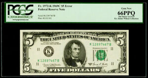 """$5 1969C Federal Reserve Note Dallas """"Error Ink Smear on Face"""" PCGS Gem New 66PP"""