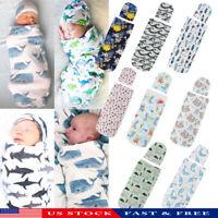 Infant Newborn Baby Toddler Swaddle Wrap Blanket Sleeping Bag Sleep Sack +Hat US