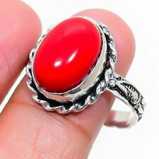 Italian Red Coral Gemstone Handmade 925 Sterling Silver Jewelry Ring Size 8