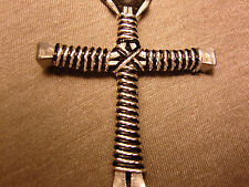 Twisted Silver and Black Handmade Dsiciples Cross Necklace