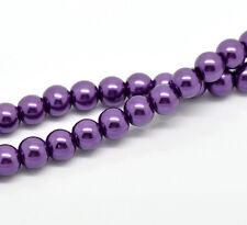 100 x Purple Glass Pearl Effect Beads Craft Jewellery - 8mm - L19349