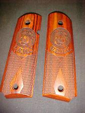 "COLT 1911 Engraved MARINES Logo+""USMC"" Chkrd Rosewood AMBI Grips FullSize NEW!"