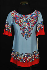 NWT CHIC BoHo Sunny Leigh Blue Red Paisley Slinky Tunic Shirt Blouse Top XS