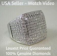 1.50 CARAT MEN WHITE GOLD FINISH REAL DIAMOND ENGAGEMENT WEDDING PINKY RING BAND