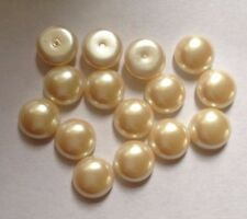 15 x Vintage Round Plastic Pearl Dome Cabochons - 10 mm approx - Ivory