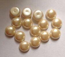 15 x VINTAGE ROTONDO IN PLASTICA Pearl CUPOLA i CABOCHON - 10 mm circa-Avorio