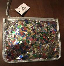 Disney Parks Mickey Mouse Confetti See Through Zipper Clutch Purse Bag Pouch