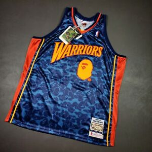 100% Authentic Bape x Mitchell Ness 09 10 Warriors Jersey Size 52 2XL Mens curry