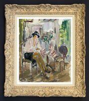 RAYA SAFIR (1909-2004) PEINTURE FAUVISTE BELLE SCENE INTIMISTE 1950 (41)