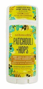 Schmidts Aluminum Free Natural Deodorant for Women, Men, Patchouli + Hops 3.25oz