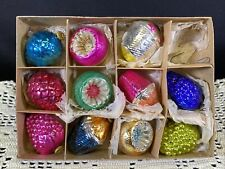 Vintage Glass Fancy Small Christmas Tree Ornaments Box of 11 Occupied Japan