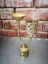 VINTAGE INDIAN BRASS ENGRAVED AND LATTICE CANDLE AND OIL HOLDER 19CMS HIGH