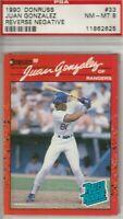 Juan Gonzalez 1990 Donruss Rated Rookie Card #33 Reverse Negative NM-MT 8