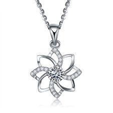 925 Sterling Silver Blooming Lotus Flower Pendant Love Crystal CZ Chain Wedding