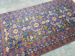 7'8x4'2 ft Handmade Afghan War Art Rug Best Tribal  War Rug Wool rug vintage