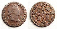 Fernando VII. (VARIANTE - IIV). 2 Maravedis 1832. Segovia. MBC+/VF+ Cobre 2,6 g.