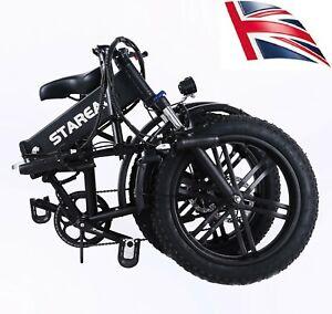 Folding Electric Mountain Bike, 20 Inch 48V E-bike Fat Tyre 4.0 Tire UK stock