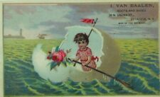 1870's-80's I. Van Baalen Boots Shoes Sea Giant Egg As Boat Child Rowing P80
