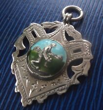 Silver & Enamel Fob Medal / Pendant h/m 1927 Bowling or Bowls - Casmore & Co