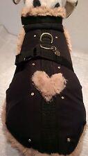 Wintermantel Hundemantel Mantel-Geschirr S und M Hunde Herz Strass Gurtband