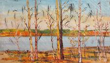 Antique oil painting landscape trees