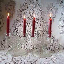 Jeannette Depression Glass Iris Herringbone Candle Holders