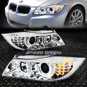 FOR 09-12 BMW E90 3-SERIES CHROME 3D CRYSTAL HALO PROJECTOR HEADLIGHT+LED CORNER