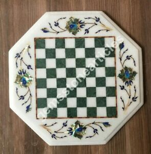 """12""""x12"""" Marble Handmade Chess Collectible Inlaid Table Mosaic Floral Art Décor"""
