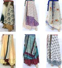 Vintage Silk Sari Recycled Magic Wrap Around Skirt Reversible Women Dress New US