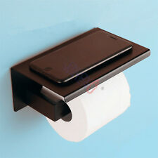 Stainless Steel Toilet Paper Roll Holder Wall Cover Bathroom With Shelf Black