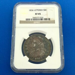 1836 Capped Bust Silver Half Dollar 50c Lettered Edge NGC XF45 Sunset Toning