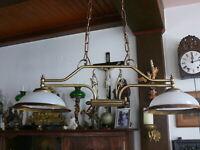 Dekorative große Lampe Deckenlampe 2 flammig ca. 80 cm massiv Messing