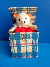 VINTAGE WOODEN BOX TEDDY BEAR JACK IN BOX