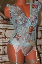 (S4) Blue Butterfly Design Lace Criss Cross sheer ladies fitted top size 10