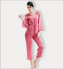 Red Lady's Mulberry Silk V-Neck Long Sleeve Pajamas/Sleepwear 6 8 10 12 14 &