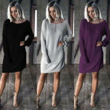 Winter Autumn Women long Sleeve Casual Loose Knitted Sweater Jumper Mini Dress