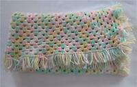 New BEAUTIFUL HANDMADE CROCHET BABY AFGHAN BLANKET PASTEL GREEN PINK YELLOW