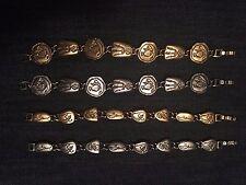 Set of 4! 90's Retro Vintage Gold Silver Metal Bracelets Animal Fossils Tribal