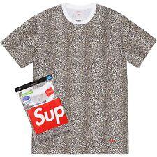 49873a6b AUTHENTIC Supreme Hanes Tagless Leopard Mens 2 Tee T-Shirts Small Box Logo  NEW L