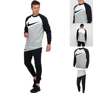 Men's Nike Sportswear Swoosh Crew Neck Tracksuit Set Sweatshirt Pants Black Grey