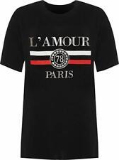 New Womens Plus Amour Paris Slogan Foil Print Baggy Short Sleeve T-Shirt UK 8-28