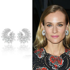 Luxury Full Simulated Diamond Pave Women Wedding Engagement Silver Stud Earrings