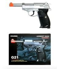 New listing G21 Heavy Weight Spring Pistol P38 Style with Metal Magazine Silver 250 FPS