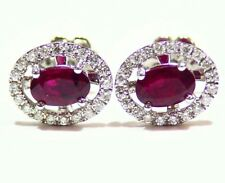 1.13ct 14k oro rubino naturale Diamante taglio rotondo Bottone aureola