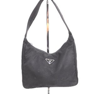 Vintage Prada Mini Nylon Tessuto Hobo Hand Shoulder Bag Made In Italy Black
