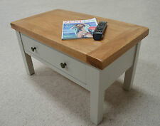 Swainswick Stone Grey Painted Oak Storage Coffee Table with 2 Drawers
