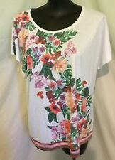 """AUTOGRAPH WHITE """"BEAUTIFUL COLOUR FLOWERS"""" T-SHIRT TOP SZ 22-NEW STOCK JUST IN!!"""