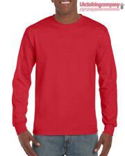 Magliette da uomo a manica lunga rossi Gildan